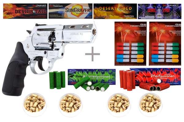 "Schreckschuss Silvester Set Professional Zoraki R1 2,5"" Revolver Chrom + 400 Teile"