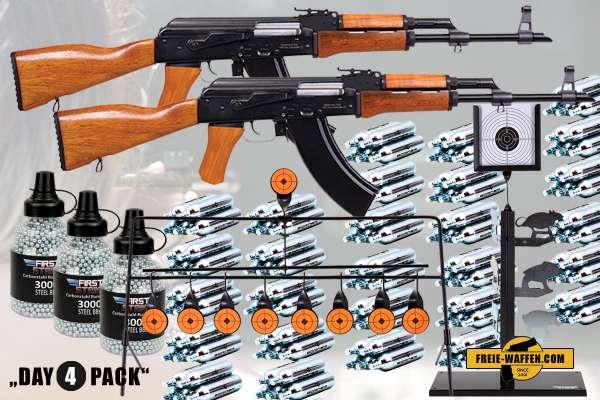 Komplettset: 2x Kalashnikov AK-47 + 500 Borner Co² Kapseln + 3x 3000 Stahlrundkugeln + Ziele