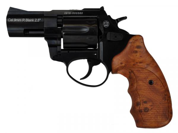 Schreckschussrevolver Zoraki R1 9mm R Knall 2,5 Zoll Lauf schwarz glänzend mit Holz Griffen