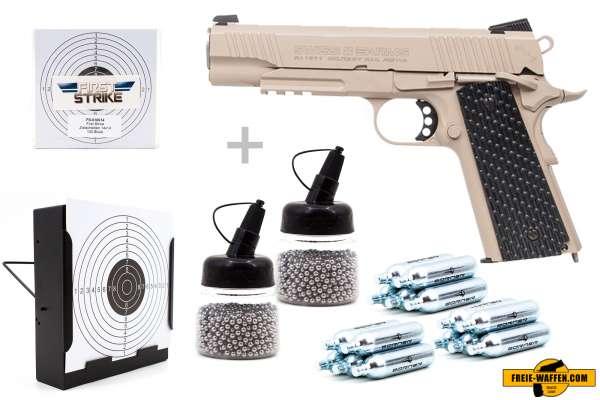 Co² Pistole Komplettset: Swiss Arms P1911 BB Military Rail, Kugelfangkasten & Zubehör