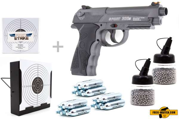 Co² Pistole Set: Borner Sport 306M Metallausführung, Kugelfangkasten + 100 Zielscheiben + 15 Co² Kap