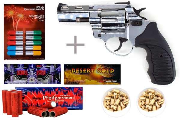 "Schreckschuss Silvester Set Starter Zoraki R1 2,5"" Revolver Chrom inkl. 100 Stk. Effekt + 100 Stk."