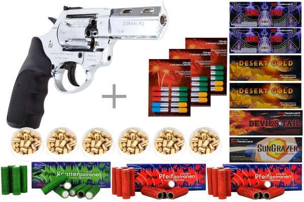 """Schreckschuss Silvester Set XXL Zoraki R1 2,5"""" Revolver Chrom + 600 Teile"""