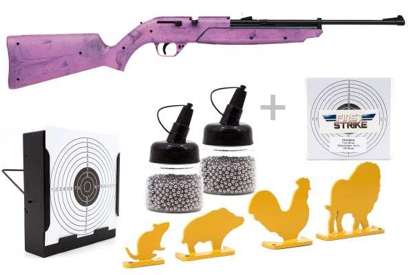 Luftgewehr Komplett Set: Crosman Luftgewehr Pumpmaster 760 Pink, Kugelfangkasten & Zubehör
