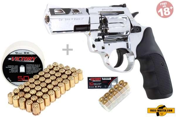 Schreckschuss Set: Zoraki Revolver R1 2,5 Zoll Chrom + 50 Platz- / + 10 Pfefferpatron